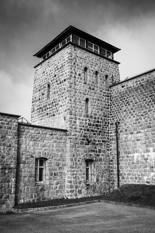 Wachturm im KZ Mauthausen.