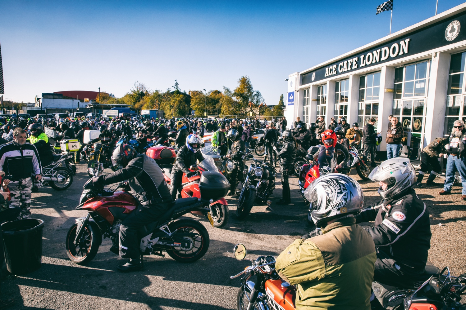 Start of the London Motorbike Protest on November 6, 2016 in front of the Ace Cafe.