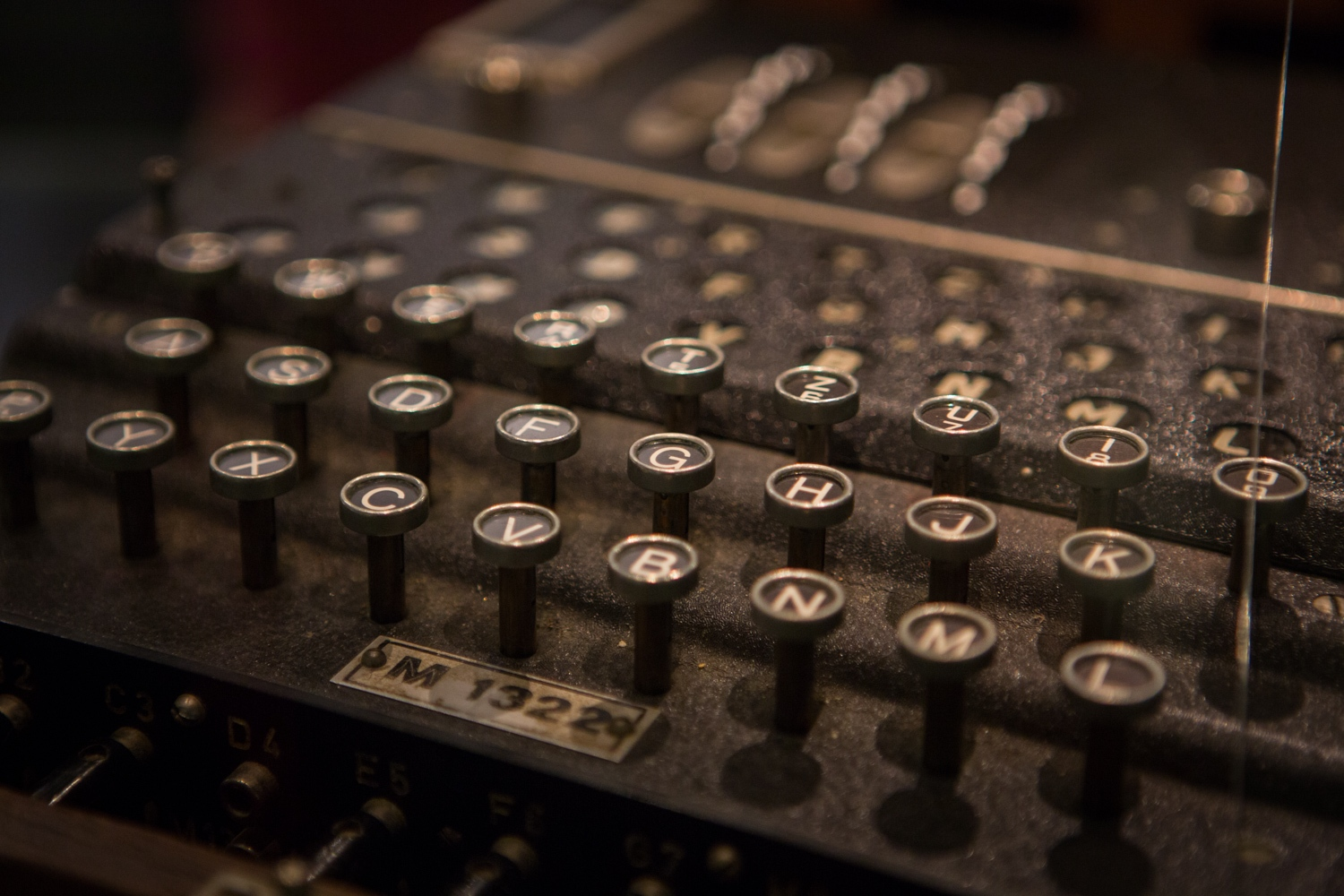 keyboard of an ENIGMA machine at Bletchley Park.