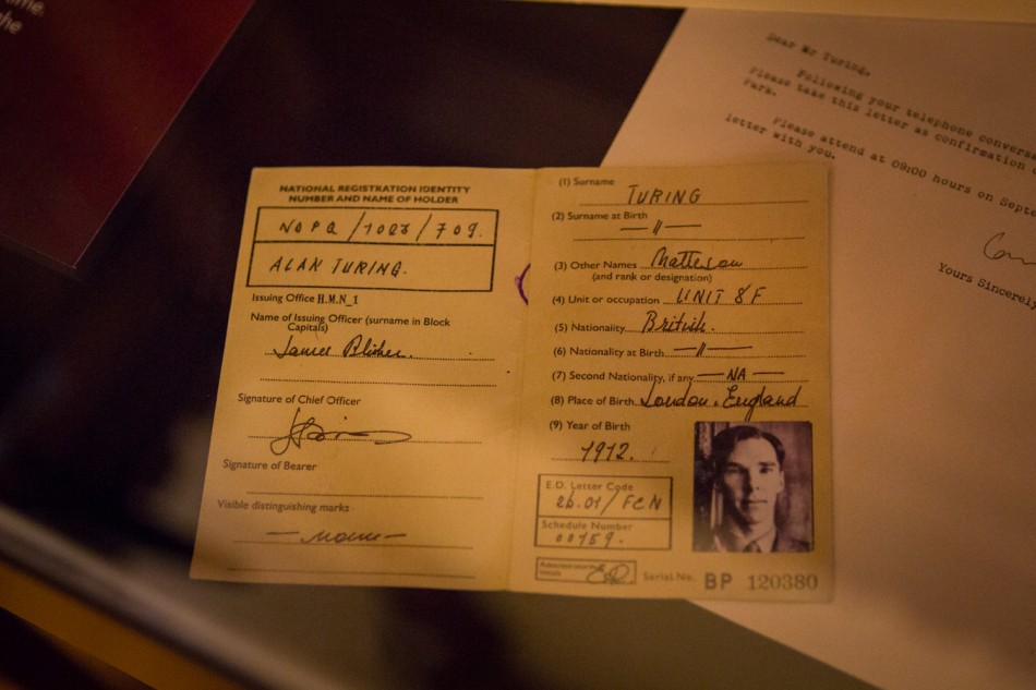 ID card of Alan Turing (played by Benedict Cumberbatch) in an exhibition about the movie