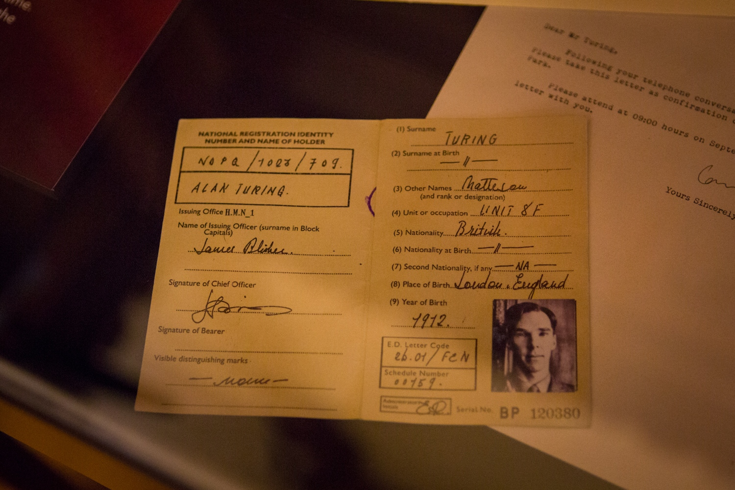 "ID card of Alan Turing (played by Benedict Cumberbatch) in an exhibition about the movie ""The Imitation Game"" at Bletchley Park."