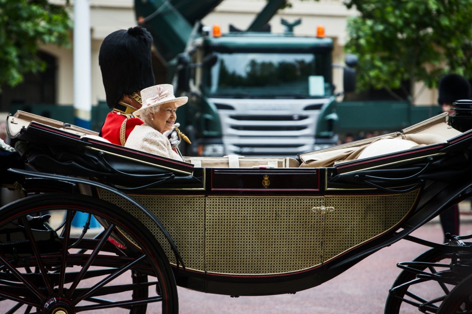Queen Elisabeth II. during Trooping The Colour 2015 in London.